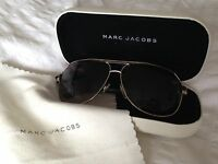 Marc Jacobs aviator sunglasses & leather case. Great vintage condition. Unisex.