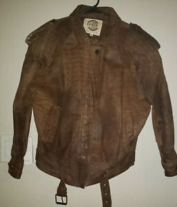 Vintage G III Global ID Distressed Brown Leather Bomber Jacket Size Small