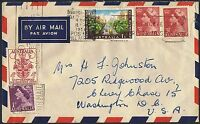 1956 Olympics 4d & 1/- + QEII 3½d x & 1d on 1956 airmail cover to the USA TS454