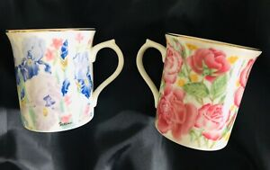 Lenox SUZANNE CLEE 🍃🌹🍃The Flower Blossom Mug🌿Collection 1995🌹Set of 2🍃🌹🍃