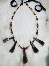 Native American Buffalo Tooth Bone Necklace Silver Beads Regalia Cherokee