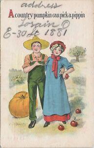 DB postcard Autumn, Halloween , a country pumpkin can pick a pippin, romance