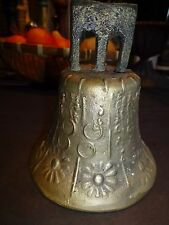 "Vintage/Antique  Bronze Bell  6"" High Flower Design/Circles- 1881/Mexico"
