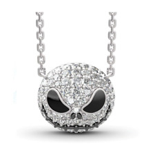 Nightmare Before Christmas Jack Skeleton Rhinestone Necklace Gift Silver Chain