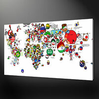 POLITICAL FUNNY MAP OF THE WORLD CANVAS WALL ART PICTURE PRINT VARIETY OF SIZES