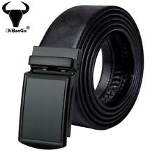 Black Formal Mens Belts Ratchet Leather Dress Straps Automatic Buckles Waistband
