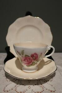 Foley Bone China Floral Trio - Pink Roses - Cup Saucer Plate - High Tea - Gc