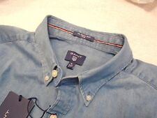 Gant Rugger Cotton Indigo Blue Fitted Sport Shirt Long Sleeve NWT XL $125