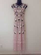 NWT Needle & Thread $650 'Floral Frill' Embellished Maxi Dress*Blush/Pink*2 US