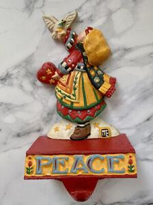 Mary Engelbreit Christmas Peace Stocking Hanger Holder Girl Dove Cast Iron MEs