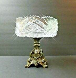 Antique Clear Crystal Compote with Metal Base Fruit or Candy Stand Bowl <rare> !