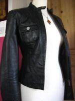 Ladies NEXT Black real Leather short fitted slim Biker Racer Jacket size UK 8