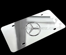 1- NEW MIRROR CHROME Mercedes Benz 3D Logo Stainless Steel VANITY LICENSE PLATE