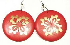 Big Red Wooden Disc Earring Gold Motif Unique Exclusive Clip On Fancy Jewelry
