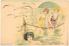 POSTCARD FRENCH 1898 WOMEN BATHERS IN THE SEA SIGNED JACK ABEILLE