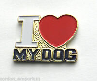 I LOVE HEART MY DOG CANINE DOGGY LAPEL PIN BADGE 1 INCH