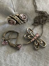 Sterling Silver Jewelry Pink Stone Ring Earrings Necklace Lot