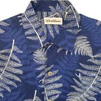 Caribbean Joe Button Up Hawaiian Shirt Men's Large Silk & Linen Blue