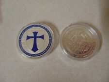 CHALLENGE COIN KNIGHTS TEMPLAR CROSS MAN ON HORSE BLUE AND SILVER COLOR