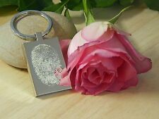Personalised Fingerprint Engraved Rectangle Key ring&Text -  Perfect Gift