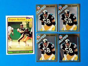 🎅 5 ] 1981 1982 Topps Terry Bradshaw & Jack Lambert Pittsburgh Steelers Lot 🎅