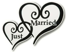 """Victoria Lynn™ """"Just Married"""" Refrigerator Car Magnet - Hearts - 6 X 5 Inches"""