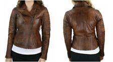Women's Ladies Real Leather Distress Brown Slim Biker Jacket Soft Sheep Leather
