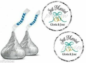 JUST MARRIED WEDDING RINGS IN TEAL HERSHEY KISS STICKER LABELS - OPTIONAL SIZES