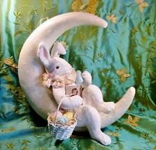 Bethany Lowe Easter Large Paper Mache Bunny on Crescent Moon Sweet!