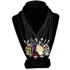 """Sugar Skull Pendant Necklace 18"""" Inch Choker Dia De Los Muertos Random Color"""