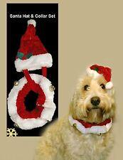 Natale Festoso PET SANTA HAT & Bell COLLARE Set Dog Puppy CAT Bandana Costume DRESS