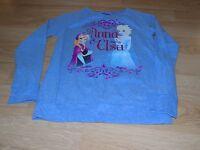 Girl's Size XL 14-16 Disney Frozen Anna & Elsa Blue Long Sleeve Raglan Shirt Top