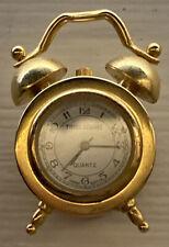 "Adorable Working Miniature Alarm Clock Shaped Time Square Clock Gold tone 2"""