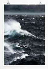 Landschaftsfotografie 60x90cm Poster  Spitzende Wellen im Wind Schwarz Weiß