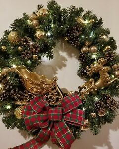 """Electric Lighted 24"""" Christmas Holiday Wreath Gold Sleigh Reindeer Balls Pine"""