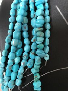 Beautiful Nacozari Turquoise Nugget Free Form Bead Strand Set 16""