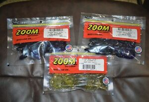 "ZOOM LIZARDS soft plastic 6"" bass fishing LOT of 3 packs NIP HOT COLORS!"
