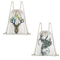 Men Women Girl Drawstring Backpack Cinch Sack School Gym Bag White Sport Pack