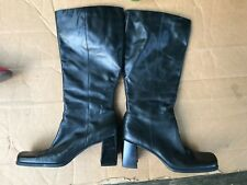 NINE & COMPANY WOMENS BLACK LEATHER BOOTS 3-1/8'' INCH HEEL SIZE 10M