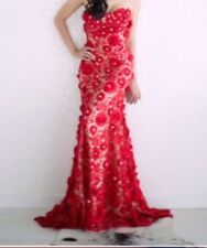 Red Lace With Swvaroski Crystal Valentino Evening Gown