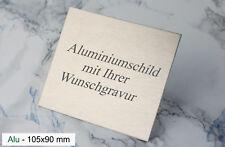 TÜRSCHILD 105x90mm - Namenschild Alu silber selbstklebend - mit WUNSCHGRAVUR