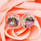 Women 925 Silver Cubic Zirconia Crystal Ear Stud Dangle Hoop Earrings Jewelry