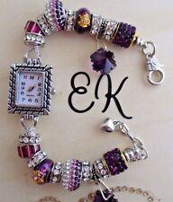 EK's Watch Purple and Silver Murano and Crystal Beads + Pandora Bag