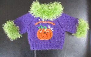"Happy Halloween Purple Sweater  Fits 10""- 12"" Bears or Dolls"