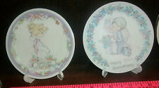 Precious Moments Lot Of 2 Personalized Porcelain Plates Carolyn & Anniversary