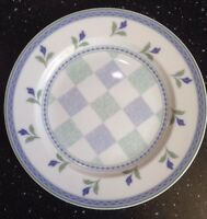 "Oneida Table Trends Gaiety Salad Plate 7 3/4"" Green Blue Flowers & Bands Checks"
