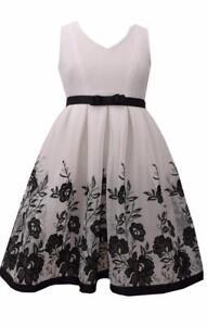 Bonnie Jean Girls Plus White Black Sleeveless Dress Formal Wear Wedding Flower