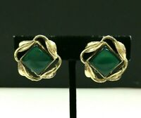 Vintage CORO Emerald Green Thermoset Lucite Gold Plated Clip Earrings XX156E