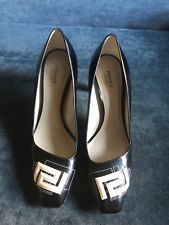 Versace, Patent Leather Heels, Black and White, Size 39.5 EU (runs small)