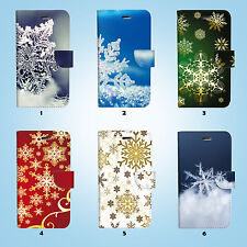 Snow Flake Flip Wallet Case Cover for HTC One M7 M8 M9 015